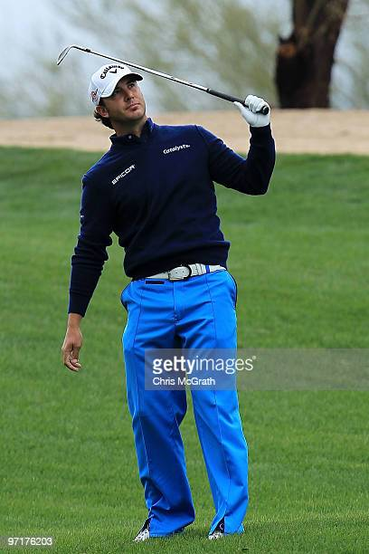 Scott Piercy reacts to his second shot on the second hole during the final round of the Waste Management Phoenix Open at TPC Scottsdale on February...