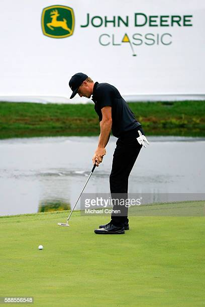 Scott Pinckney plays his shot on the 18th green during the first round of the John Deere Classic at TPC Deere Run on August 11 2016 in Silvis Illinois