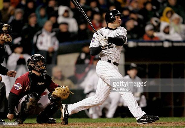 Scott Podsednik of the Chicago White Sox hits a game winning home run during Game Two of the Major League Baseball World Series against the Houston...