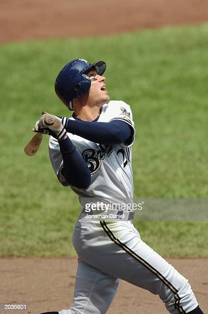Scott Podsednik of the Milwaukee Brewers hits a fly ball during the game against the Cincinnati Reds at Miller Park on May 17 2003 in Milwaukee...