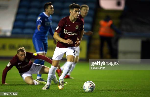 Scott Pollock of Northampton Town moves forward with the ball during the Sky Bet League Two match between Carlisle United and Northampton Town at...