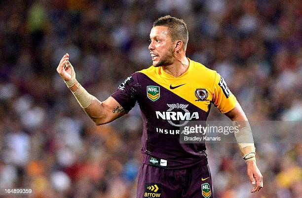 Scott Prince of the Broncos calls out to his team mates during the round four NRL match between the Brisbane Broncos and the Melbourne Storm at...