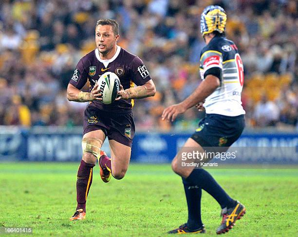 Scott Prince of the Broncos looks to pass during the round six NRL match between the Brisbane Broncos and the North Queensland Cowboys at Suncorp...