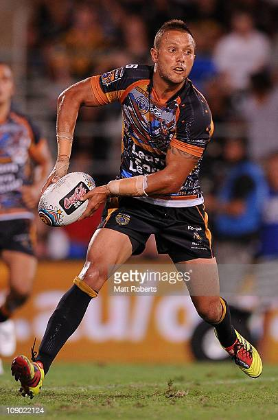 Scott Prince of the Indigenous All Stars looks to pass during the match between the Indigenous All Stars and the NRL All Stars at Skilled Park on...