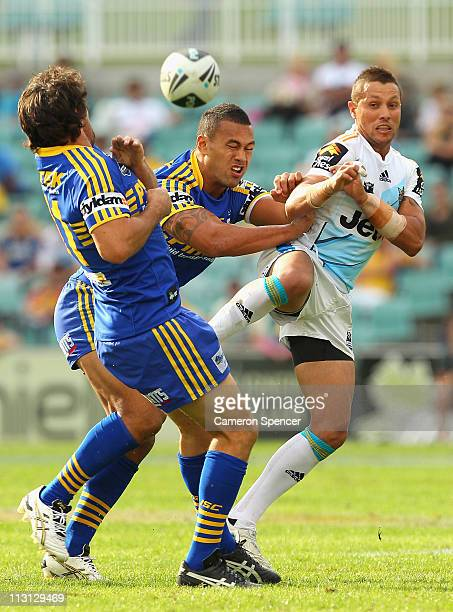 Scott Prince of the Titans kicks ahead during the round seven NRL match between the Parramatta Eels and the Gold Coast Titans at Parramatta Stadium...