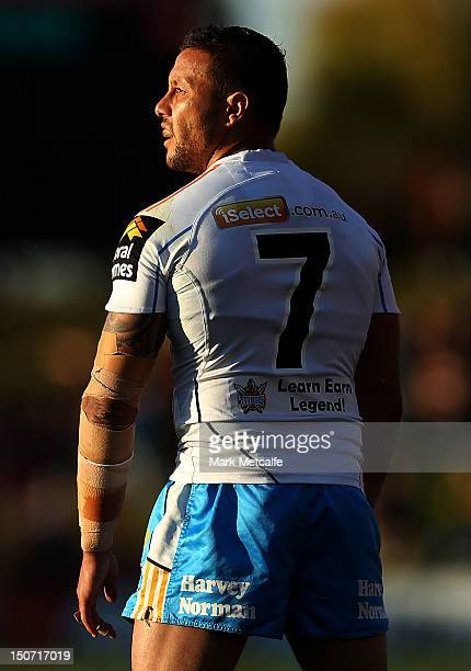 Scott Prince of the Titans prepares to kick a conversion during the round 25 NRL match between the Penrith Panthers and the Gold Coast Titans at...
