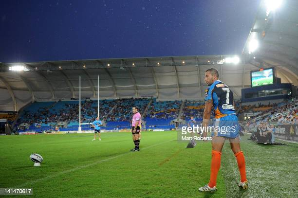 Scott Prince of the Titans takes a convertion attempt during the round three NRL match between the Gold Coast Titans and the Melbourne Storm at...
