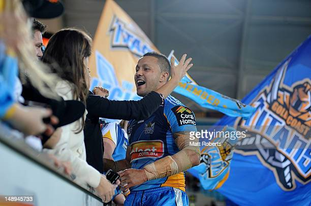 Scott Prince of the Titans thanks fans after the round 20 NRL match between the Gold Coast Titans and the Brisbane Broncos at Skilled Park on July...