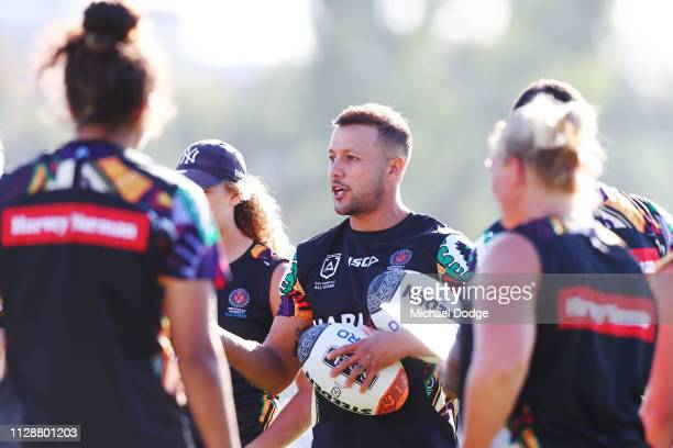 Scott Prince speaks to the players during a NRL Indigenous Women's Training Session at Gosch's Paddock on February 11, 2019 in Melbourne, Australia.