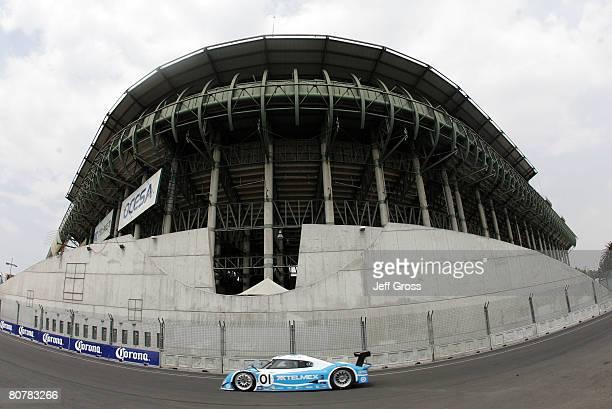 Scott Pruett and Memo Rojas of Mexico drive the TELMEX Chip Ganassi Racing Lexus Riley compete during the Mexico City 250 at Autodromo Hermanos...