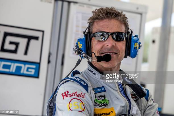 Scott Pruett is shown in the pits during practice for the Mobil Sportscar Grand Prix IMSA WeatherTech Aeries race at Canadian Tire Mosport Park on...