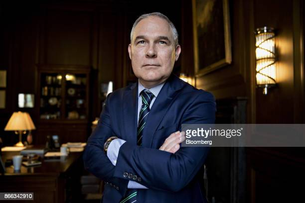 Scott Pruitt administrator of the Environmental Protection Agency stands for a photograph after an interview in his office at the EPA headquarters in...