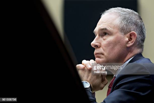 Scott Pruitt, administrator of the Environmental Protection Agency , listens during a House Energy and Commerce Subcommittee hearing in Washington,...