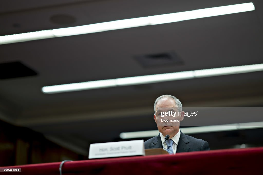 Scott Pruitt, administrator of the Environmental Protection Agency (EPA), listens during a Senate Appropriations Subcommittee hearing in Washington, D.C., U.S., on Wednesday, May 16, 2018. Pruitt faced intense criticism in his first Senate testimony since a crush of ethical allegations that have put his job in jeopardy. Photographer: Andrew Harrer/Bloomberg via Getty Images