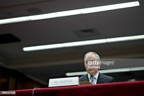 Scott Pruitt administrator of the Environmental Protection Agency listens during a Senate Appropriations Subcommittee hearing in Washington DC US on...