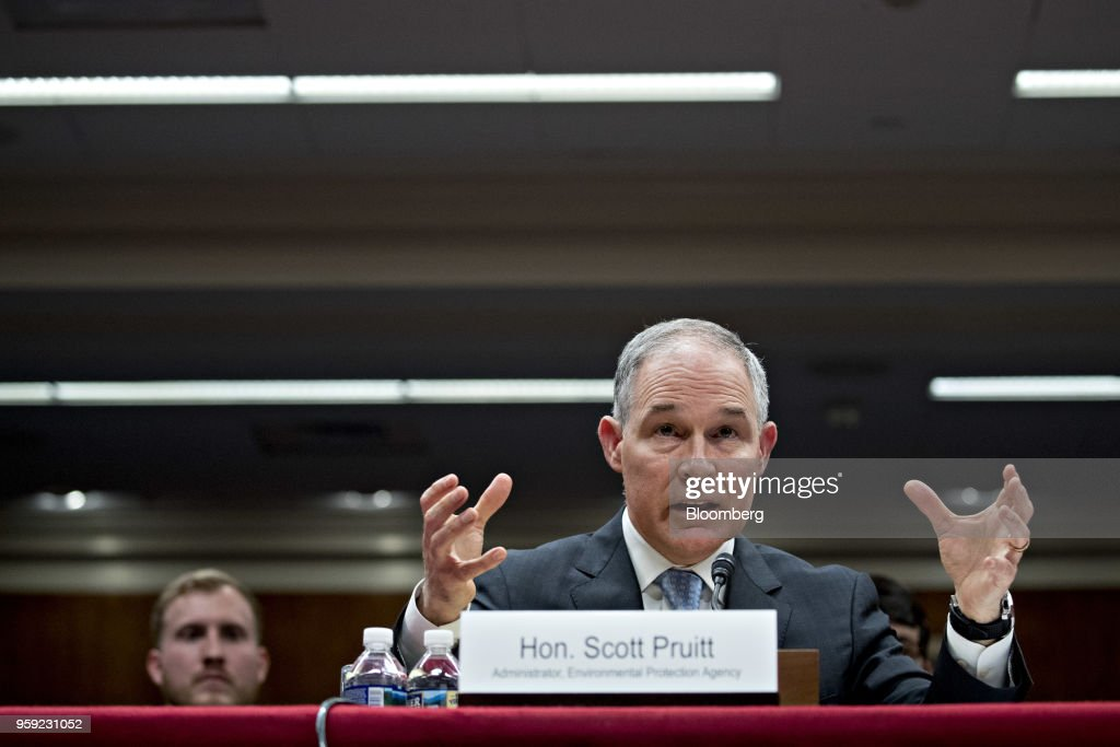Scott Pruitt, administrator of the Environmental Protection Agency (EPA), speaks during a Senate Appropriations Subcommittee hearing in Washington, D.C., U.S., on Wednesday, May 16, 2018. Pruitt faced intense criticism in his first Senate testimony since a crush of ethical allegations that have put his job in jeopardy. Photographer: Andrew Harrer/Bloomberg via Getty Images