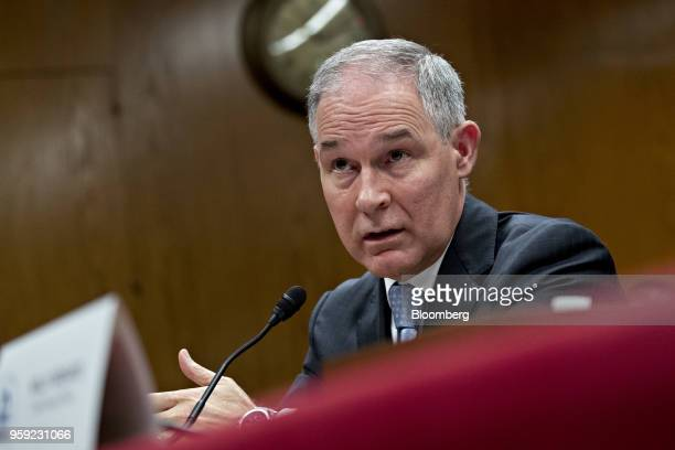 Scott Pruitt administrator of the Environmental Protection Agency speaks during a Senate Appropriations Subcommittee hearing in Washington DC US on...