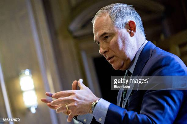 Scott Pruitt administrator of the Environmental Protection Agency speaks during an interview in his office at the EPA headquarters in Washington DC...