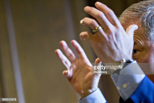 Scott Pruitt administrator of the Environmental Protection Agency gestures while speaking during an interview in his office at the EPA headquarters...
