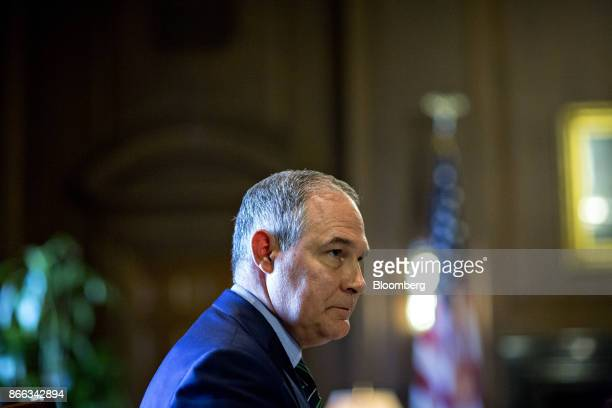 Scott Pruitt administrator of the Environmental Protection Agency pauses while speaking during an interview in his office at the EPA headquarters in...