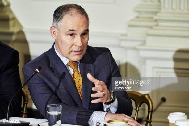 Scott Pruitt administrator of the Environmental Protection Agency speaks during an infrastructure initiative meeting with US President Donald Trump...