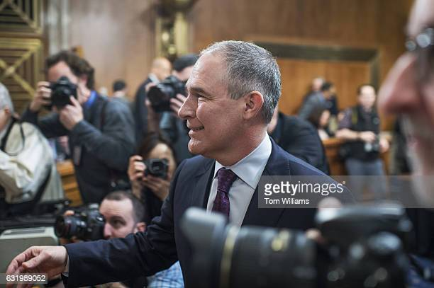 Scott Pruitt Presidentelect Trump's nominee to be administrator of the Environmental Protection Agency arrives for his Senate Environment and Public...