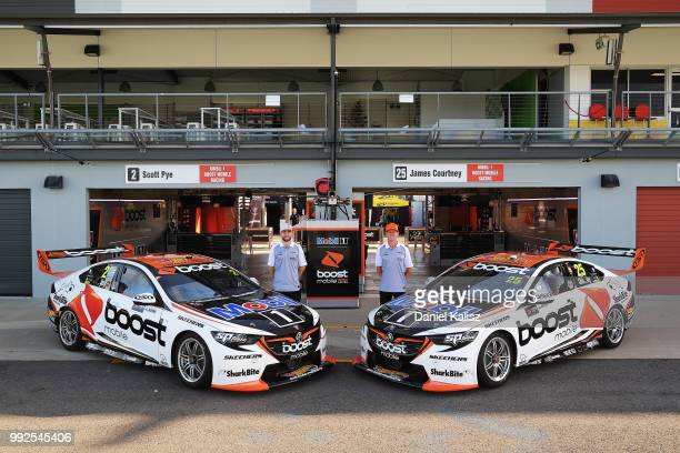 Scott Pye driver of the Mobil 1 Boost Mobile Racing Holden Commodore ZB and James Courtney driver of the Mobil 1 Boost Mobile Racing Holden Commodore...