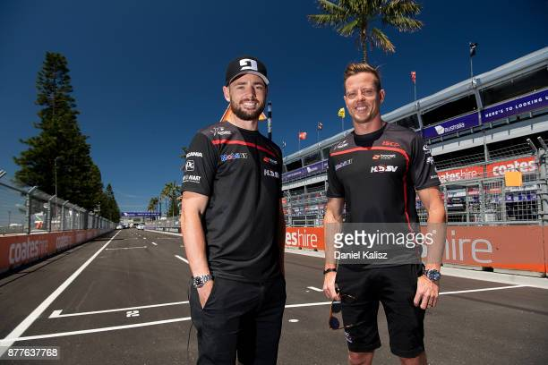 Scott Pye driver of the Mobil 1 HSV Racing Holden Commodore VF and James Courtney driver of the Mobil 1 HSV Racing Holden Commodore VF pose for a...