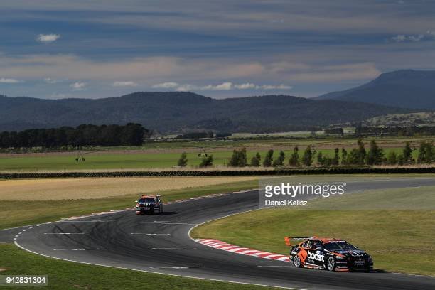 Scott Pye drives the Mobil 1 Boost Mobile Racing Holden Commodore ZB leads James Courtney drives the Mobil 1 Boost Mobile Racing Holden Commodore ZB...