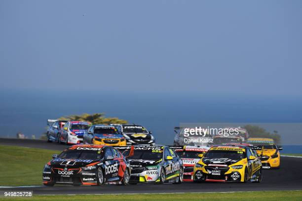 Scott Pye drives the Mobil 1 Boost Mobile Racing Holden Commodore ZB during race 10 for the Supercars Phillip Island 500 at Phillip Island Grand Prix...