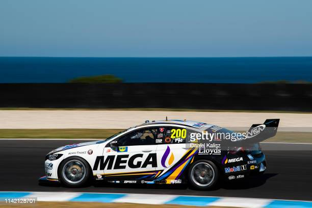Scott Pye drives the Mobil 1 MEGA Racing Holden Commodore ZB during the Phillip Island 500 as part of the Supercars Championship season at Phillip...