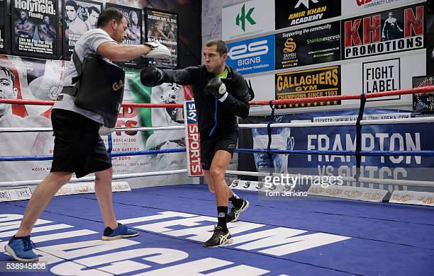 Scott Quigg the boxer with his trainer Joe Gallagher during a training session at the Amir Khan gym in Bolton on February 4th 2016 in Lancashire