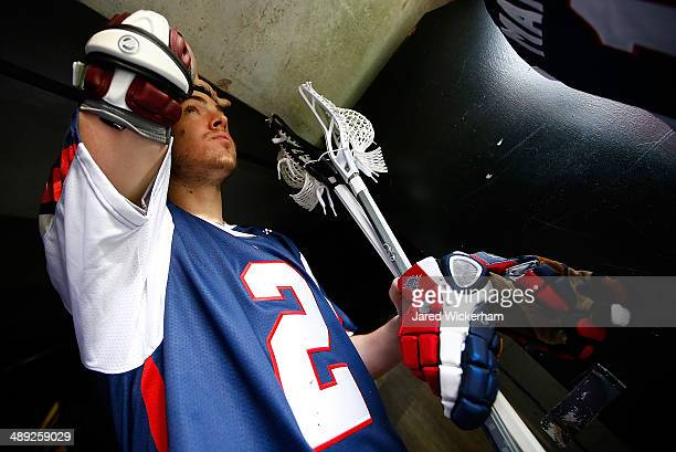 Scott Ratliff of the Boston Cannons walks out to the field prior to the game against the Denver Outlaws at Harvard Stadium on May 10 2014 in Boston...