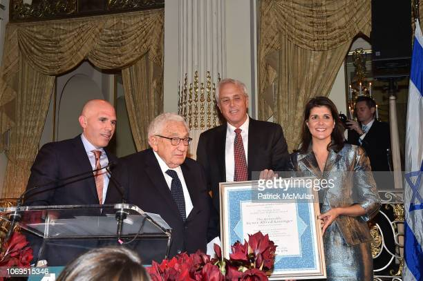 Scott Rechler Henry Kissinger Yoron Cohen and Nikki Haley attend American Friends Of Rabin Medical Center 2018 Annual NYC Gala at The Plaza on...