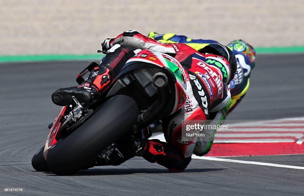 Scott Redding (Aprilia) and Valentino Rossi (Yamaha) during the Moto GP test in the Barcelona Catalunya Circuit, on 23th May 2018 in Barcelona, Spain. --