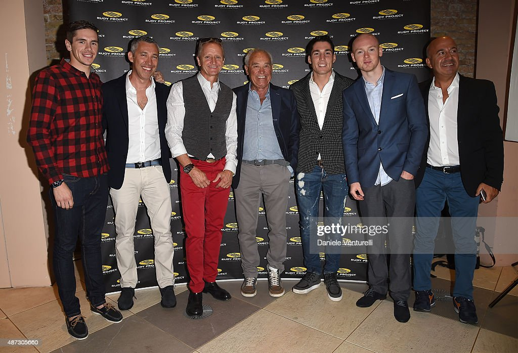 Scott Redding, Cristiano Barbazza, Kevin Schwantz, Rudy Barbazza, Aleix Espargaro, Bradley Smith and guest attend a party for 'Rudy Project' 30th Anniversary Party during the 72nd Venice Film Festival at Granai dell'Hotel Cipriani on September 8, 2015 in Venice, Italy.