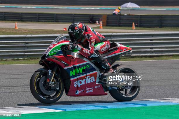 Scott Redding of Great Britain and Aprilia Racing Team Gresini heads down a straight during the qualifying practice during the MotoGP Of Thailand...