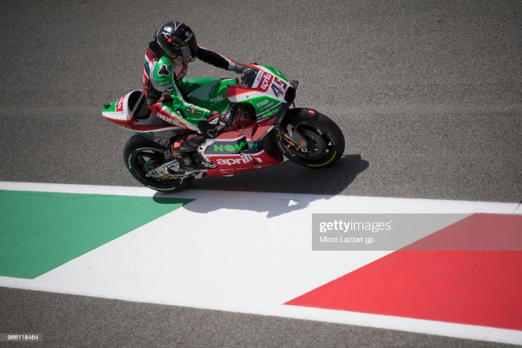 Scott Redding of Great Britain and Aprilia Racing Team Gresini heads down a straight during the qualifying practice during the MotoGp of Italy - Qualifying at Mugello Circuit on June 2, 2018 in Scarperia, Italy.