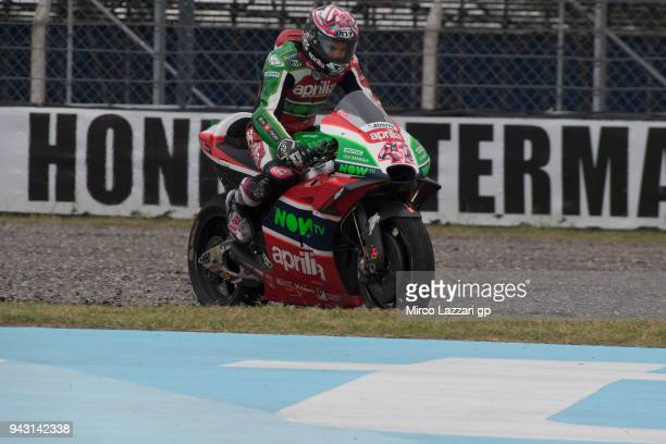 Scott Redding of Great Britain and Aprilia Racing Team Gresini rides out of track during the qualifying practice during the MotoGp of Argentina...