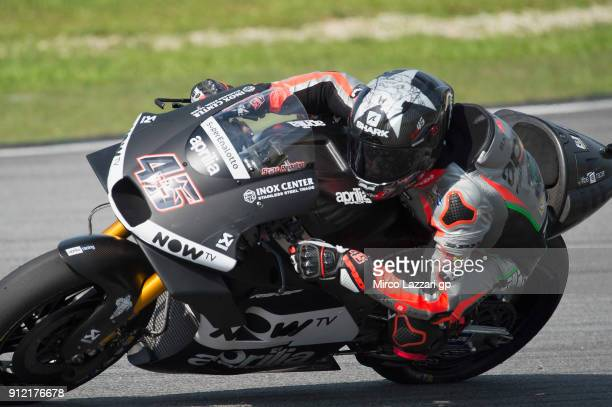 Scott Redding of Great Britain and Aprilia Racing Team Gresini rounds the bend during the MotoGP test in Sepang at Sepang Circuit on January 30 2018...