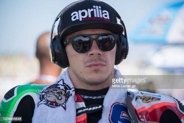 Scott Redding of Great Britain and Aprilia Racing Team Gresini prepares to start on the grid during the MotoGP race during the MotoGP of San Marino...