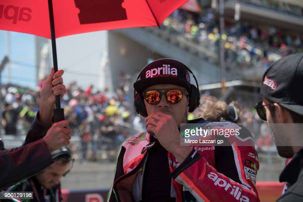 Scott Redding of Great Britain and Aprilia Racing Team Gresini prepares to start on the grid during the MotoGP race during the MotoGp Red Bull US...