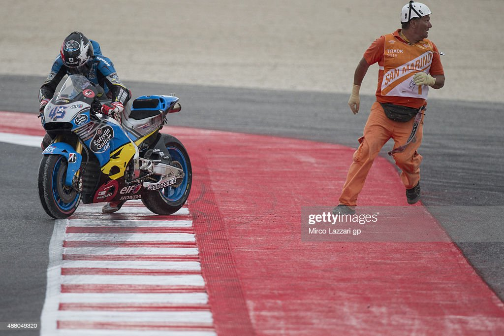 Scott Redding of Great Britain and Estrella Galicia 0,0 Marc VDS crashed out in the MotoGP World Championship race during the San Marino GP at Misano World Circuit on September 13, 2015 in Misano Adriatico, Italy.