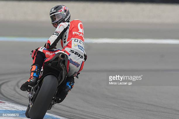 Scott Redding of Great Britain and Octo Pramac Racing looks back during the qualifying practice during the at MotoGP Netherlands Qualifying on June...