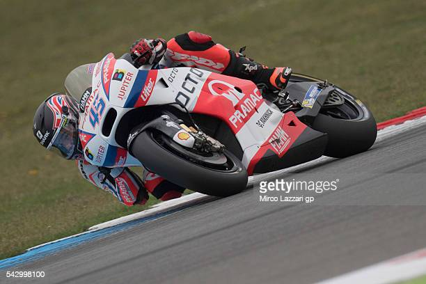 Scott Redding of Great Britain and Octo Pramac Racing rounds the bend during the qualifying practice during the at MotoGP Netherlands Qualifying on...