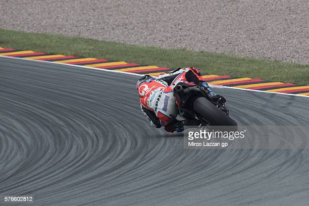 Scott Redding of Great Britain and Octo Pramac Racing rounds the bend during the MotoGp of Germany Qualifying at Sachsenring Circuit on July 16 2016...