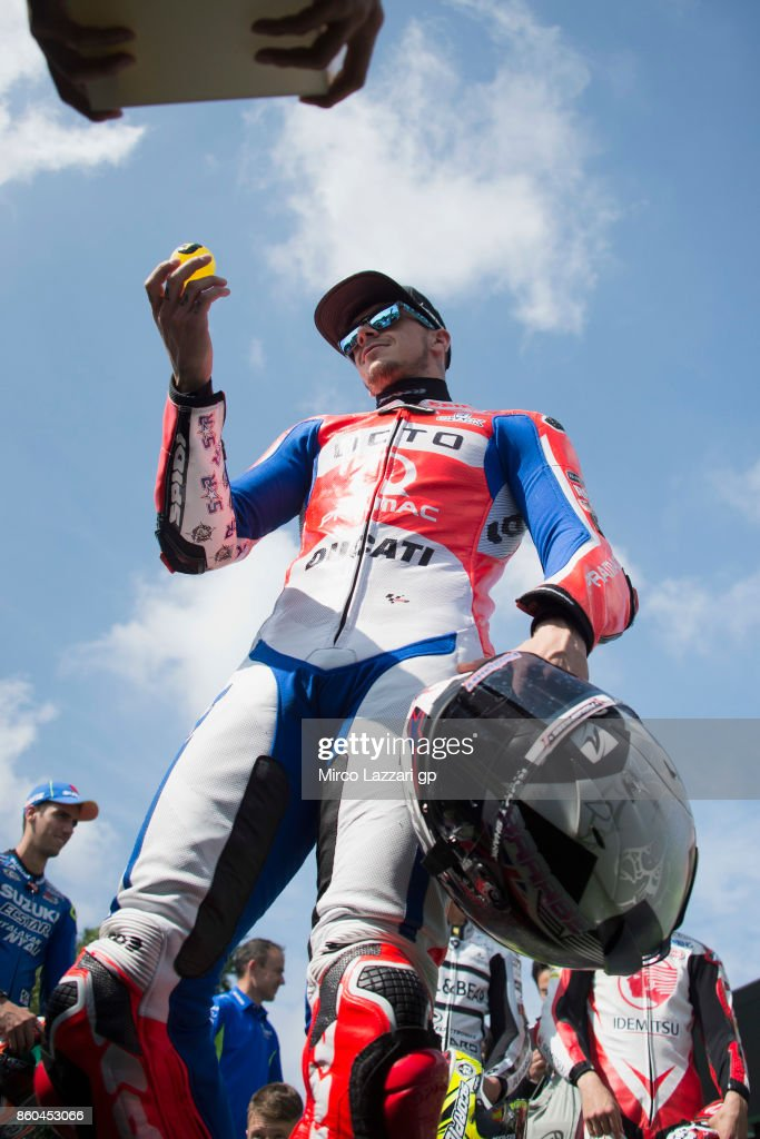 Scott Redding of Great Britain and Octo Pramac Yakhnich looks on during the pre-event 'The mini-battle between the MotoGP riders and children with electric mini bikes at Mobi Park at Motegi' ahead of the MotoGP of Japan at Twin Ring Motegi on October 12, 2017 in Motegi, Japan.