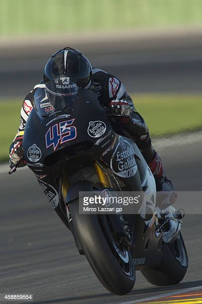 Scott Redding of the UK and Marc VDS Racing Team heads down a straight during the MotoGP Tests in Valencia at Ricardo Tormo Circuit on November 12...
