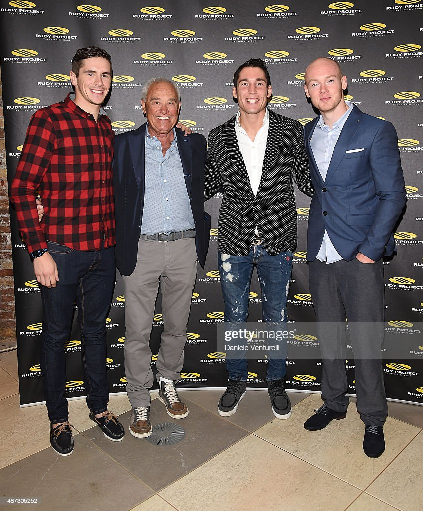 Scott Redding, Rudy Barbazza, Bradley Smith, Aleix Espargaro attends a party for 'Rudy Project' 30th Anniversary Party during the 72nd Venice Film Festival at Granai dell'Hotel Cipriani on September 8, 2015 in Venice, Italy.