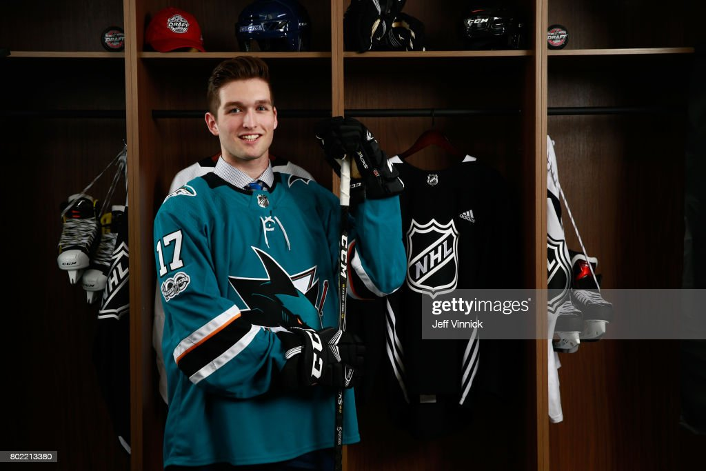 Scott Reedy, 102nd overall pick of the San Jose Sharks, poses for a portrait during the 2017 NHL Draft at United Center on June 24, 2017 in Chicago, Illinois.